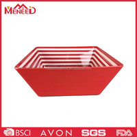 Red color plastic melamine square salad bowl