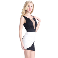 2016 Ladies New Model Dress Black And White Beautiful Western Neck Patterns For Ladies Dresses