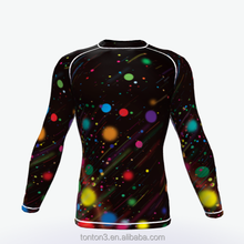 Lycra Long Sleeve Design Compression Rounded Training fitness t-shirt Custom Sublimation Compression Shirt Men