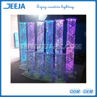 Elegant Tall round columns for wedding decoration ,Hanging Crystal Wedding lead road with LED light for decoration