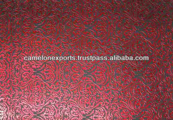 Black Color Cotton Paper With Red Foil Printed