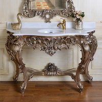 805 Antique Silver Baroque Style Console Table With Wash Basin