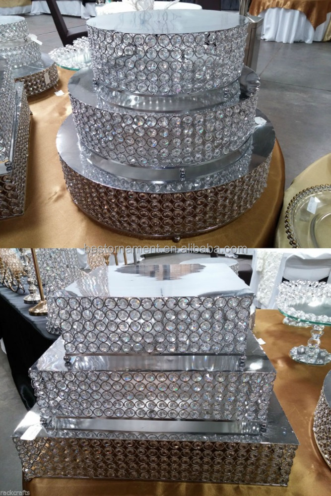 Metal Stainless Steel Acrylic Diamond Gem Cake Stand For Table Centerpiece Wedding