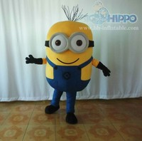 plush material minion mascot costume head with cooling fan minion mascot costume for adults