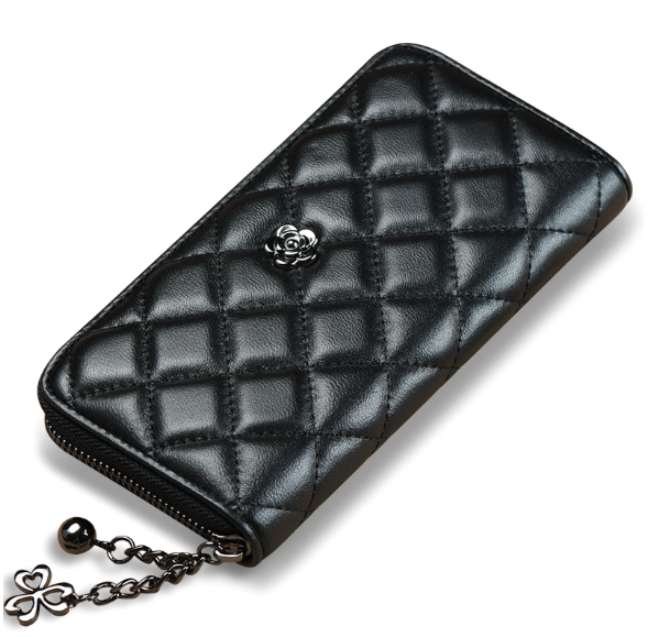 Soft leather sheepskin diamond lattice womens long zipper clutch purse wallet