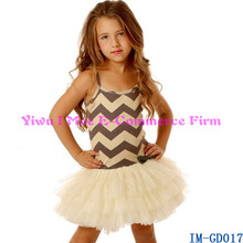 Wholesale Kids Boutique Clothes Fashion Baby Girls Grey Chevron Tulle Dresses for Summer IM-GD017
