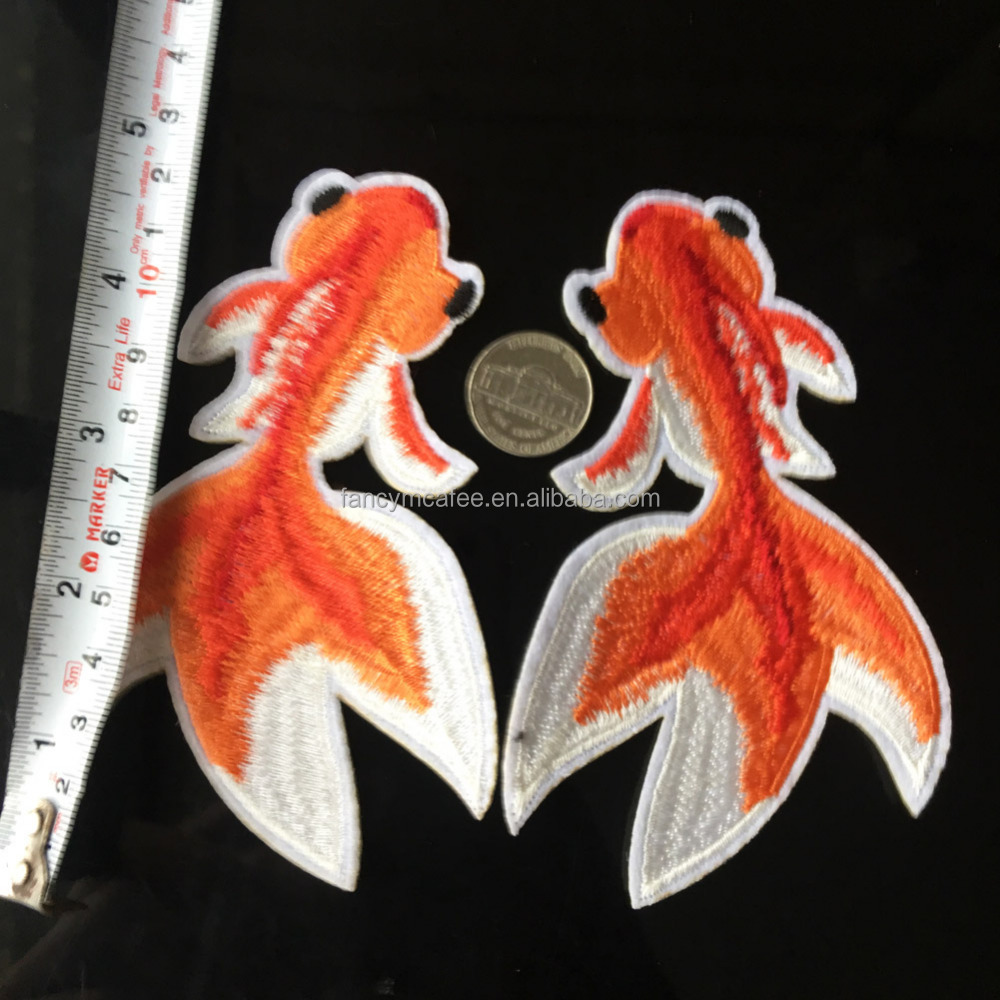 In Stock DIY Fish Embroidered Iron on Patch ON Clothes Fabric Sticker Badge Applique