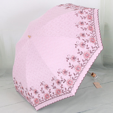 Sunshade umbrella with Thickened double layer embroidered lace,UPF>50+ sun umbrella,uv protection sunscreen umbrella