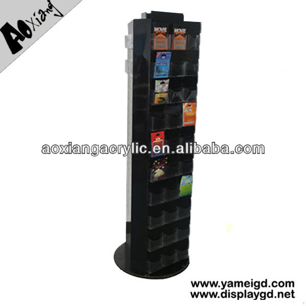 Double Sides MDF Wood Shelving Multi-layered Acrylic Pockets Retail Store Rotary Display Stand