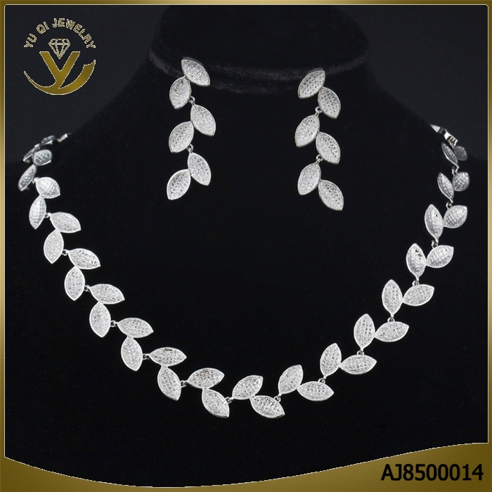 Best price leaf shape AAA zircon necklace and earrings wedding jewelry set