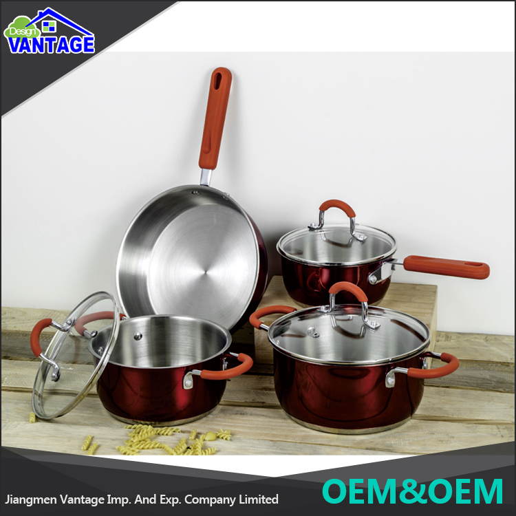 New Style Stainless Steel mirror surface 7pcs Cookware sets non stick cookware