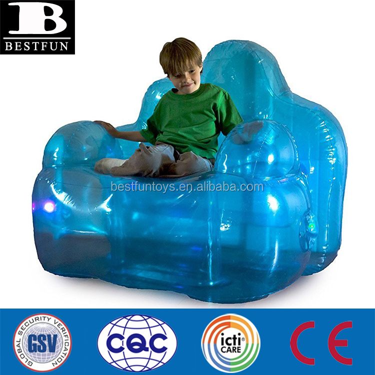 heavy duty vinyl inflatable light up blue aurora lounger chair oversized waterproof fancy blow up LED sofa chair furniture