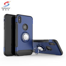 Rotating ring phone cover for iphone x magnetic carbon fiber cases,for iphone 10 case carbon fiber car holder