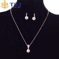 2016 Simulated Pearl Jewelry Sets for Women Lady Girl Bridal Jewellery Sets Wedding Australia Crystal Pendant Necklace Earring//