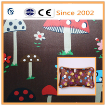 For Hot Water Bag PVC Coated Mushroom Printed Satin Polyester Fabric