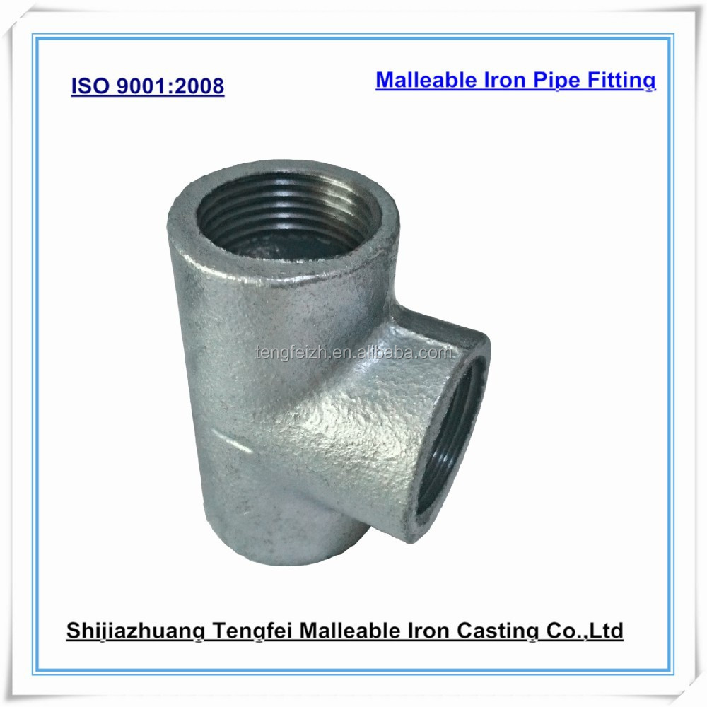 Malleable iron tees plain galvanized cast pipe