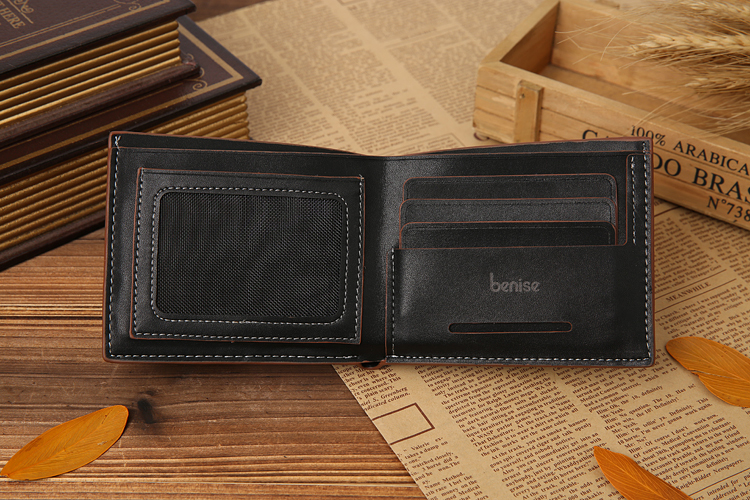 Wholesale Slim Bifold PU Leather Wallet Men