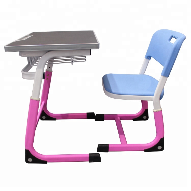 Adjustable height student classroom furniture adult adjustable school desk and chair