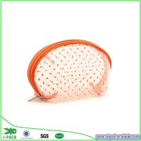 New trendy Orange dot PVC mini portable zipper bag