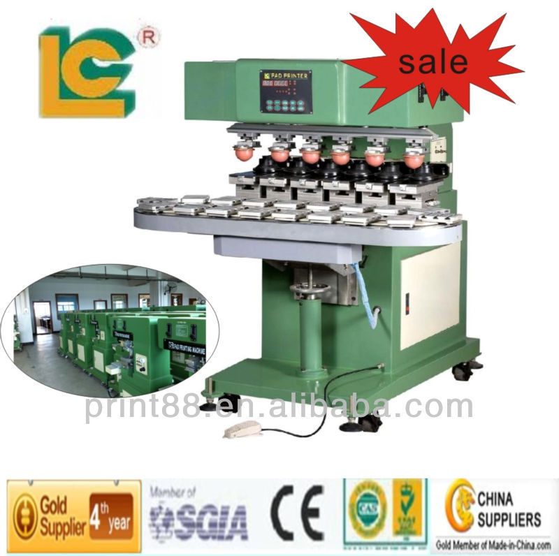 High quality Six Colour Closed ink Cup Pad Printer LC-SPM6-150/18T for metal caps, plastic caps
