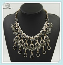 2015 Hotsale Black Crystal Necklace, Vivid Peacock Feather Necklace for Women