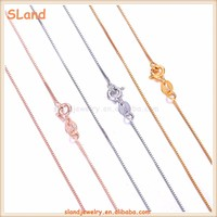 Factory price outlet dainty Rhodium/Gold/Rose gold plated 925 sterling silver box chain Jewelry - Solid silver Necklace chain