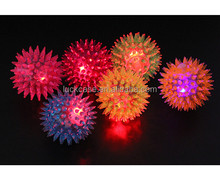 2017 Amazon New Style Non-toxic Elastic Durable Hedgehog Design Child Toys Flash Jumping Ball Silicone LED Flash Jumping Ball