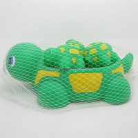 Squeaky family turtle rubber baby bath toy