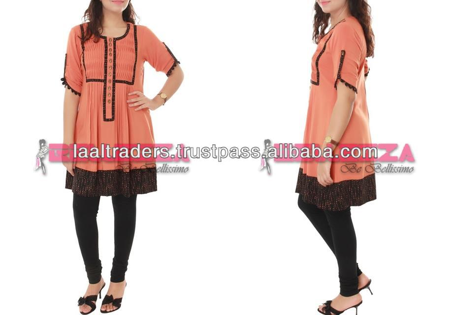 New salmon color designer frock style kurti
