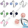 shining acrylic balls twiste piercing nose jewelry twister piercings