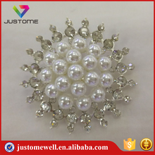 Korean Style Large Crystal Pearl Flower Brooch Pins for Women Dresses