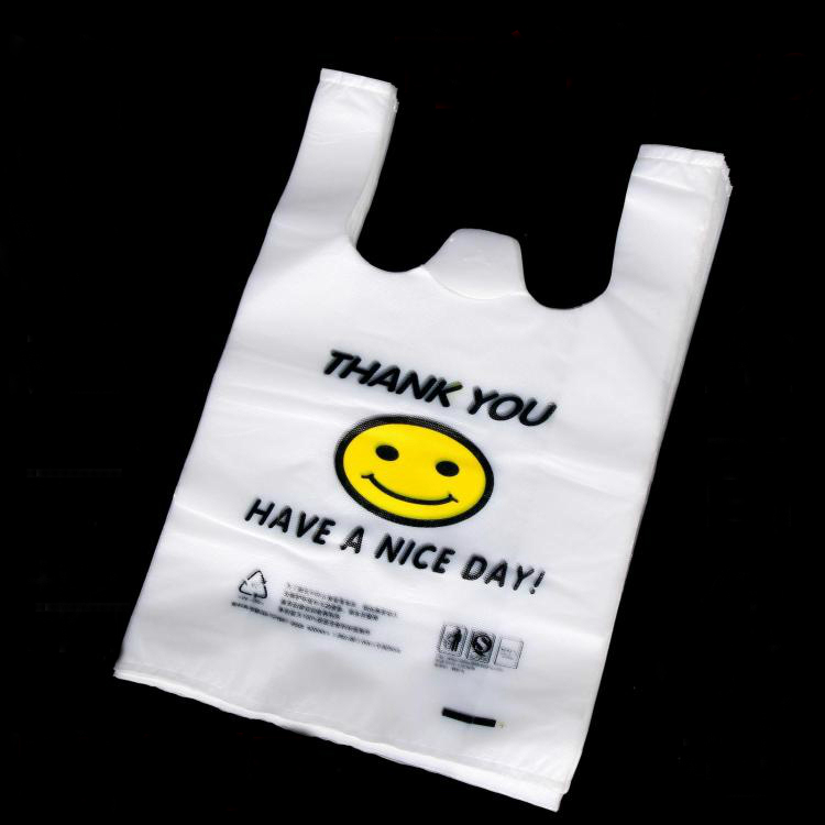 custom shopping plastic t-shirt tote bag for grocery