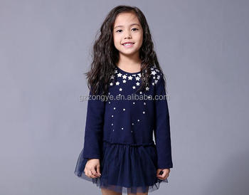 fancy dress competition for kids long sleeve autumn cotton star print tops one piece dress garment factory OEM supply