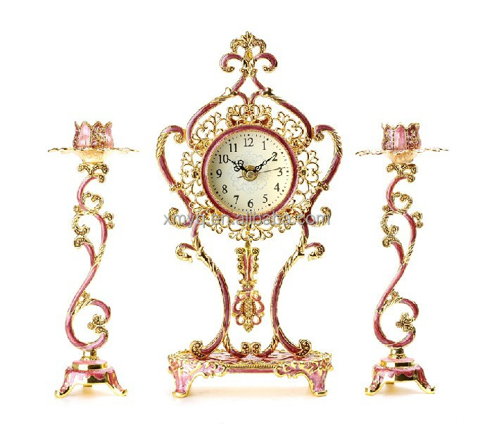 Modern Design Metal Red Unique Desk Clock For Home Decor