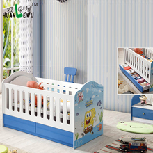 Baby crib with 2 drawers baby bed with storage MDF print cartoon pattern