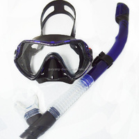 A standard diving mask and snorkel set for adults tempering lens and full dry snorkel