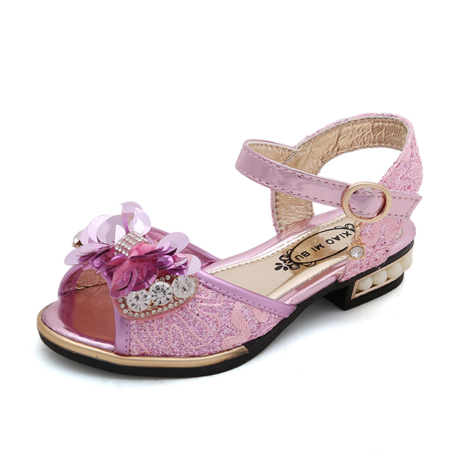 Sequins Rhinestone design low heels kids shoes new girl <strong>sandals</strong>