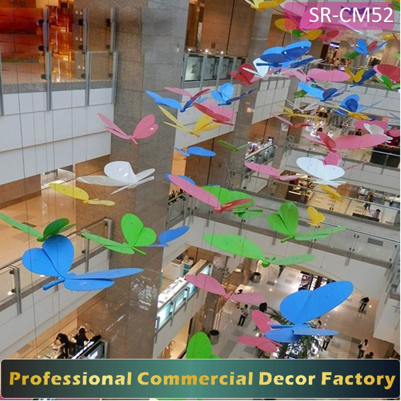 Customize commercial holiday hanging butterfly decoration for shopping center hotel