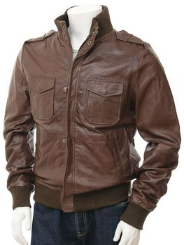Men's Brown Leather Bomber Jacket: