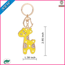 custom cheap make promotional leather giraffe live animal keychain