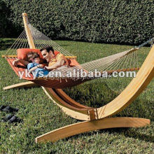 Wooden Curved Arc Hammock Stand With Hammock