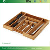 BH003/Expandable Bamboo Cutlery Drawer Organizer with Knife Block Compact Storage Tray