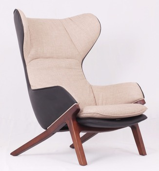 wooden foot leather fabric ear armchair comfortable bedroom relax chair