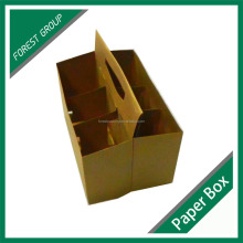 6 BOTTLE BEERS PACKAGING PAPER BOX WITH DIE CUT HANDLE