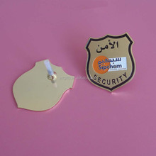 Soft Enamel Gold Security Hat Badge With Screw Back