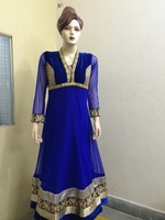 Ink blue Indian wedding heavy designer net anarkali salwar suits for women