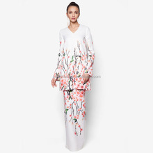 Fashion digital printing satin Baju kurung and baju melayu for women muslim clothing