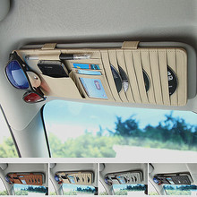 Factory supplier sunvisor card Coin storage pocket smart leather car CD holder on stock