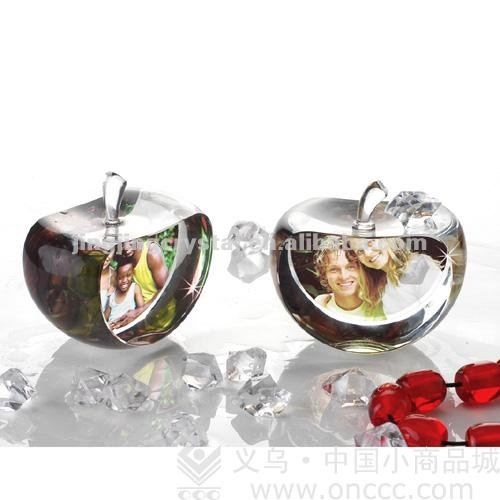 newest style crystal apple shaped k9 clear materia funny photo frame