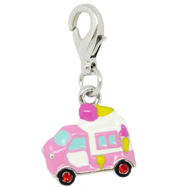 Silver plated colorful enamel ambulance charm with clasp #19496
